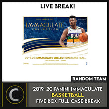 Load image into Gallery viewer, 2019-20 PANINI IMMACULATE BASKETBALL 5 BOX FULL CASE BREAK #B506 - RANDOM TEAMS