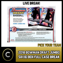 Load image into Gallery viewer, 2018 BOWMAN DRAFT SUPER JUMBO BASEBALL 6 BOX (CASE) BREAK #A067 - PICK YOUR TEAM