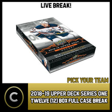 Load image into Gallery viewer, 2018-19 UPPER DECK SERIES 1 - 12 BOX FULL CASE BREAK #H182 - PICK YOUR TEAM -