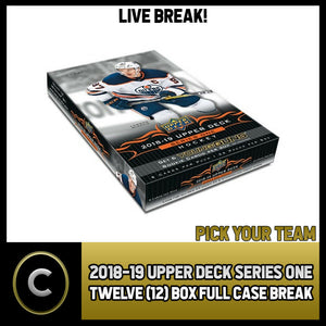 2018-19 UPPER DECK SERIES 1 - 12 BOX FULL CASE BREAK #H182 - PICK YOUR TEAM -