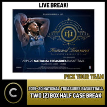 Load image into Gallery viewer, 2019-20 NATIONAL TREASURES BASKETBALL 2 BOX BREAK #B420 - PICK YOUR TEAM