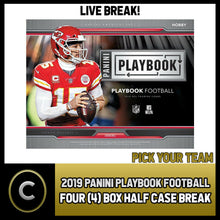 Load image into Gallery viewer, 2019 PANINI PLAYBOOK FOOTBALL 4 BOX (HALF CASE) BREAK #F502 - PICK YOUR TEAM