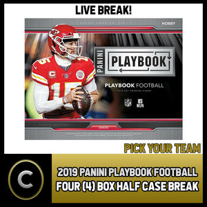 2019 PANINI PLAYBOOK FOOTBALL 4 BOX (HALF CASE) BREAK #F502 - PICK YOUR TEAM