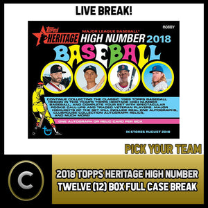 2018 TOPPS HERITAGE HIGH NUMBER 12 BOX FULL CASE BREAK #A029 - PICK YOUR TEAM