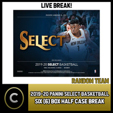 Load image into Gallery viewer, 2019-20 PANINI SELECT BASKETBALL 6 BOX (HALF CASE) BREAK #B363 - RANDOM TEAMS