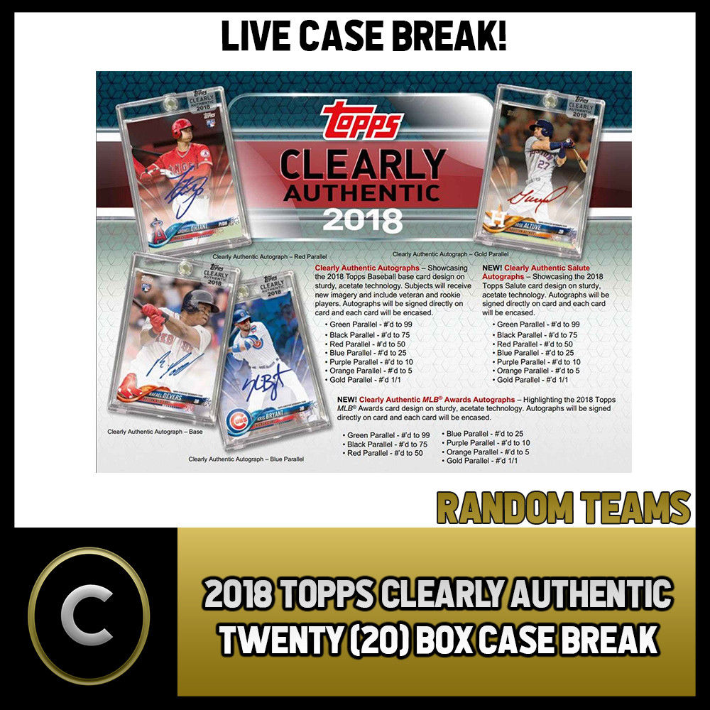 2018 TOPPS CLEARLY AUTHENTIC 20 BOX FULL CASE BREAK #A020 -  RANDOM TEAMS -