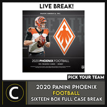 Load image into Gallery viewer, 2020 PANINI PHOENIX FOOTBALL 16 BOX (FULL CASE) BREAK #F583 - RANDOM TEAMS