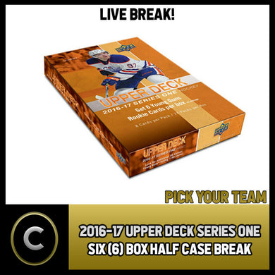2016-17 UPPER DECK SERIES 1 - 6 BOX HALF CASE BREAK #H1054 - PICK YOUR TEAM -