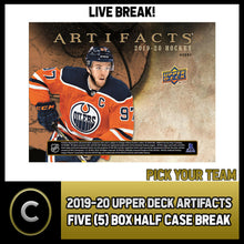 Load image into Gallery viewer, 2019-20 UPPER DECK ARTIFACTS 5 BOX (HALF CASE) BREAK #H912 - PICK YOUR TEAM -