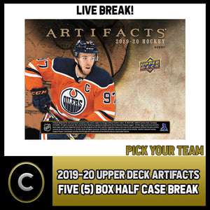 2019-20 UPPER DECK ARTIFACTS 5 BOX (HALF CASE) BREAK #H912 - PICK YOUR TEAM -