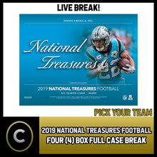 Load image into Gallery viewer, 2019 PANINI NATIONAL TREASURES NFL 4 BOX FULL CASE BREAK #F433 - PICK YOUR TEAM