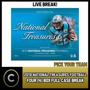 2019 PANINI NATIONAL TREASURES NFL 4 BOX FULL CASE BREAK #F433 - PICK YOUR TEAM