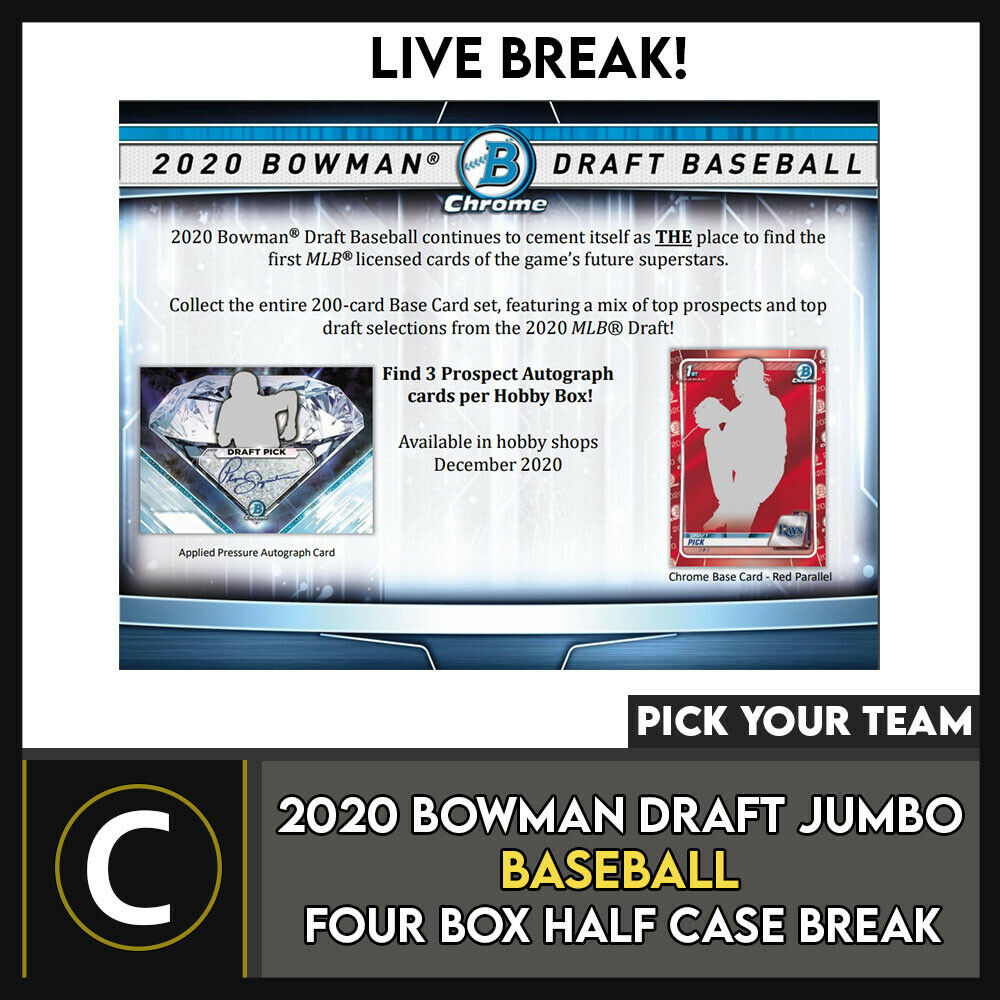 2020 BOWMAN DRAFT JUMBO BASEBALL 4 BOX (HALF CASE) BREAK #A1041 - PICK YOUR TEAM
