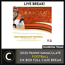 Load image into Gallery viewer, 2020 PANINI IMMACULATE FOOTBALL 6 BOX (FULL CASE) BREAK #F619 - RANDOM TEAMS