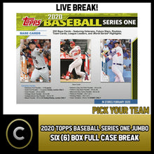 Load image into Gallery viewer, 2020 TOPPS SERIES 1 JUMBO BASEBALL 6 BOX FULL CASE BREAK #A838 - PICK YOUR TEAM