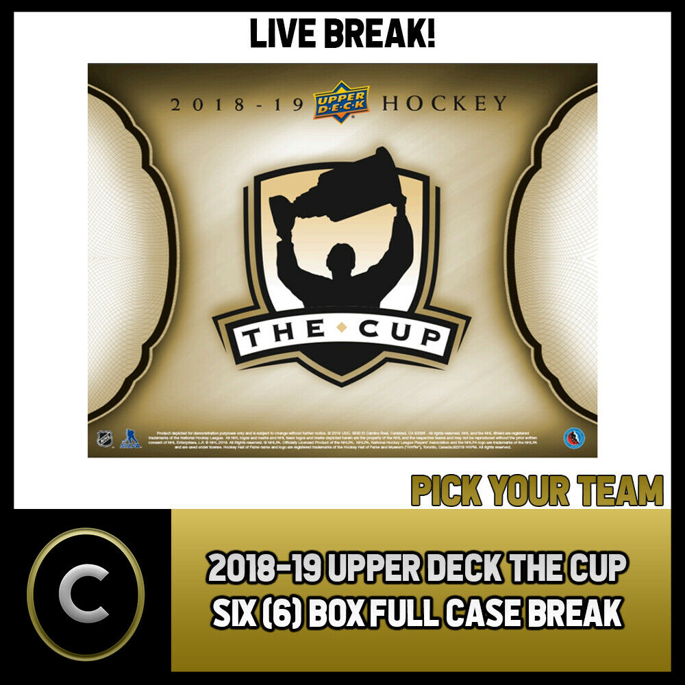 2018-19 UPPER DECK THE CUP 6 BOX (FULL CASE) BREAK #H597 - PICK YOUR TEAM -