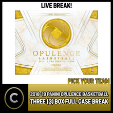 Load image into Gallery viewer, 2018-19 PANINI OPULENCE BASKETBALL 3 BOX (CASE) BREAK #B184 - PICK YOUR TEAM -