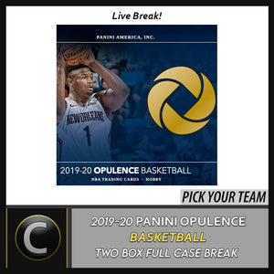 2019-20 PANINI OPULENCE BASKETBAL 2 BOX FULL CASE BREAK #B467 - PICK YOUR TEAM