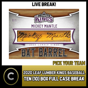 2020 LEAF LUMBER KINGS BASEBALL 10 BOX (FULL CASE) BREAK #A784 - PICK YOUR TEAM