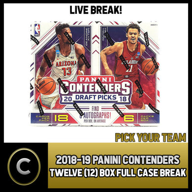 2018-19 PANINI CONTENDERS 12 BOX (FULL CASE) BREAK #B047 - PICK YOUR TEAM -