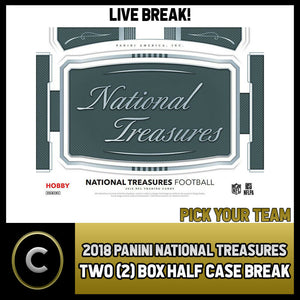 2018 PANINI NATIONAL TREASURES FOOTBALL 2 BOX (1/2 CASE BREAK) #F126 PICK TEAM -