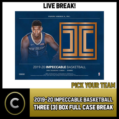 2019-20 PANINI IMPECCABLE BASKETBALL 3 BOX CASE BREAK #B385 - PICK YOUR TEAM