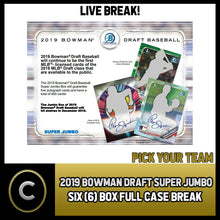 Load image into Gallery viewer, 2019 BOWMAN DRAFT SUPER JUMBO 6 BOX (FULL CASE) BREAK #A574 - PICK YOUR TEAM