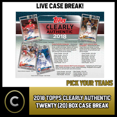 2018 TOPPS CLEARLY AUTHENTIC 20 BOX FULL CASE BREAK #A060 - PICK YOUR TEAM