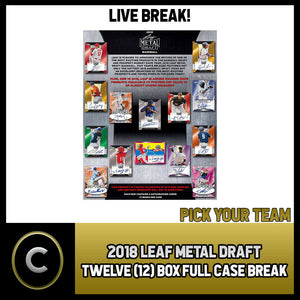 2018 LEAF METAL DRAFT BASEBALL 12 BOX (FULL CASE) BREAK #A481 - PICK YOUR TEAM