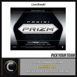 2020 PANINI PRIZM BASEBALL 12 BOX (FULL CASE) BREAK #A834 - PICK YOUR TEAM