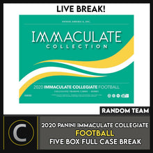 Load image into Gallery viewer, 2020 PANINI IMMACULATE COLLEGIATE 5 BOX (FULL CASE) BREAK #F531 - RANDOM TEAMS