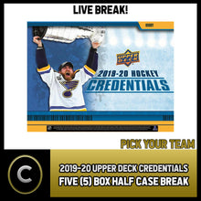 Load image into Gallery viewer, 2019-20 UPPER DECK CREDENTIALS 5 BOX (HALF CASE) BREAK #H926 - PICK YOUR TEAM