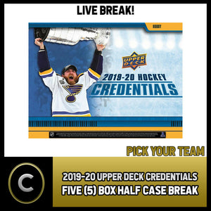 2019-20 UPPER DECK CREDENTIALS 5 BOX (HALF CASE) BREAK #H926 - PICK YOUR TEAM