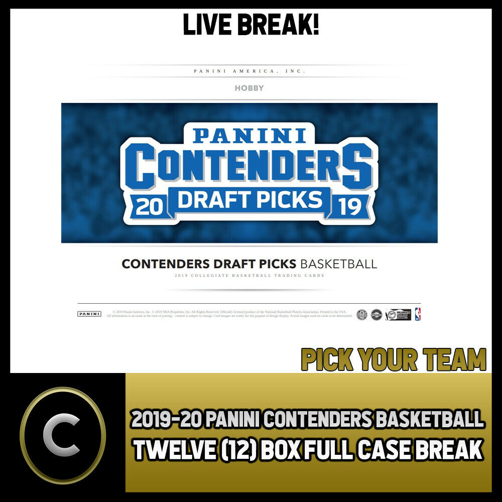 2019-20 PANINI CONTENDERS DRAFT 12 BOX FULL CASE BREAK #B232 - PICK YOUR TEAM