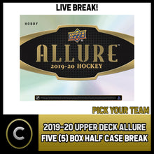Load image into Gallery viewer, 2019-20 UPPER DECK ALLURE HOCKEY 5 BOX (HALF CASE) BREAK #H1139 - PICK YOUR TEAM