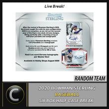 Load image into Gallery viewer, 2020 BOWMAN STERLING BASEBALL 6 BOX (HALF CASE) BREAK #A916 - RANDOM TEAMS