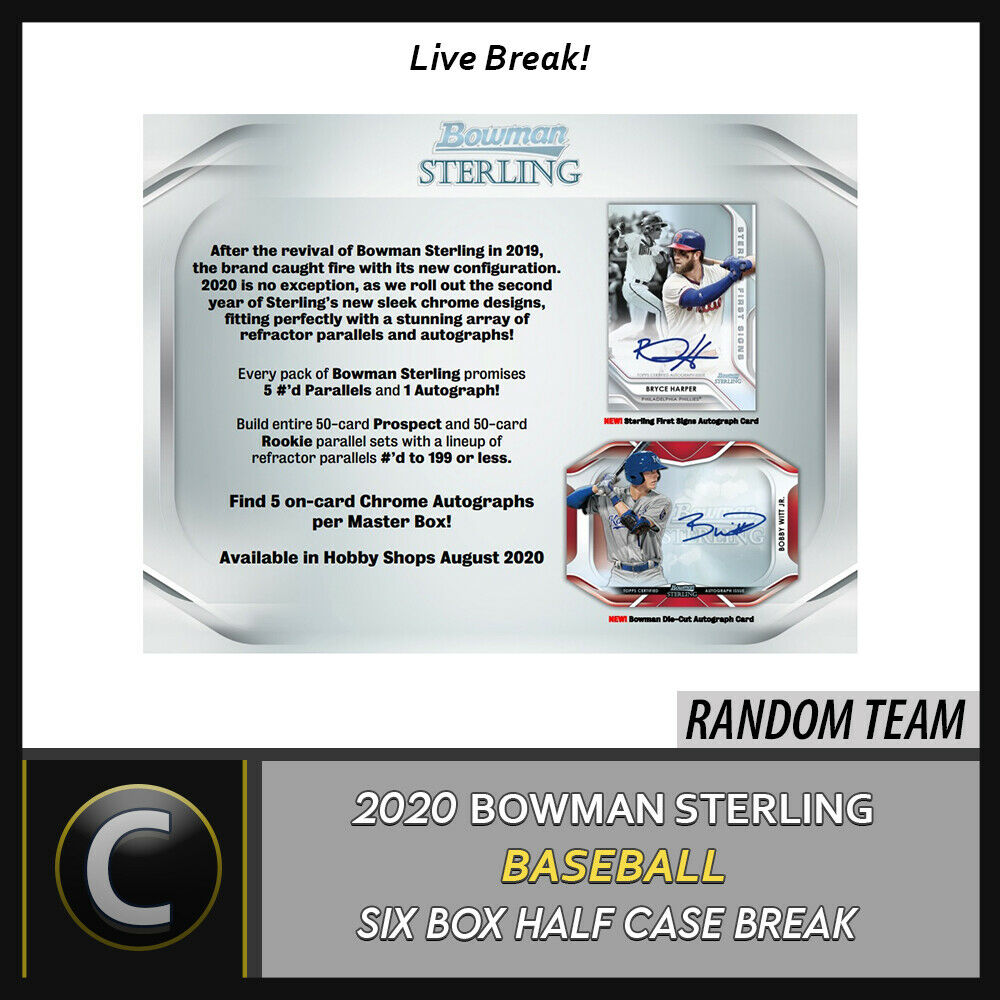2020 BOWMAN STERLING BASEBALL 6 BOX (HALF CASE) BREAK #A916 - RANDOM TEAMS