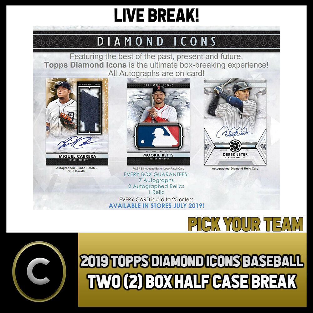 2019 TOPPS DIAMOND ICONS BASEBALL 2 BOX (HALF CASE) BREAK #A265 - PICK YOUR TEAM