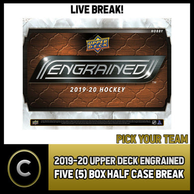 2019-20 UPPER DECK ENGRAINED 5 BOX (HALF CASE) BREAK #H838 - PICK YOUR TEAM