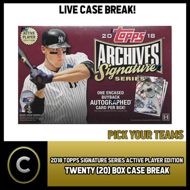 2018 TOPPS SIGNATURE SERIES ACTIVE 20 BOX FULL CASE BREAK #A302 - PICK YOUR TEAM