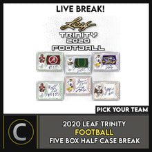 Load image into Gallery viewer, 2020 LEAF TRINITY FOOTBALL 5 BOX (HALF CASE) BREAK #F558 - PICK YOUR TEAM