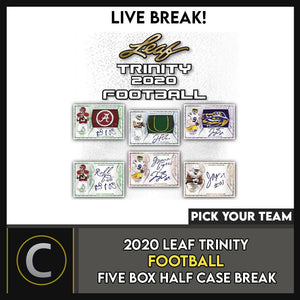 2020 LEAF TRINITY FOOTBALL 5 BOX (HALF CASE) BREAK #F558 - PICK YOUR TEAM