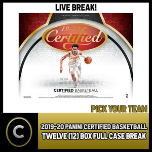 2019-20 PANINI CERTIFIED BASKETBALL 12 BOX CASE BREAK #B288 - PICK YOUR TEAM