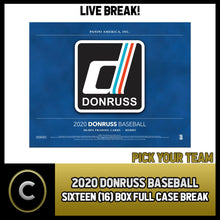 Load image into Gallery viewer, 2020 DONRUSS BASEBALL 16 BOX (FULL CASE) BREAK #A739 - PICK YOUR TEAM