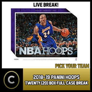 2018-19 PANINI HOOPS 20 BOX (FULL CASE) BREAK #B037 - PICK YOUR TEAM -
