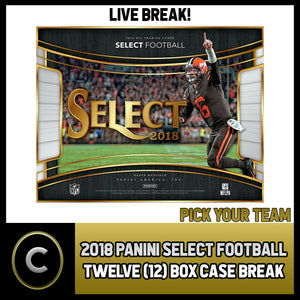 2018 PANINI SELECT FOOTBALL 12 BOX (FULL CASE) BREAK #F085 - PICK YOUR TEAM