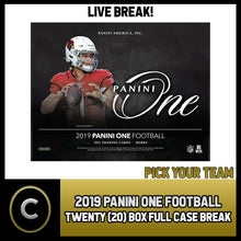 Load image into Gallery viewer, 2019 PANINI ONE FOOTBALL 20 BOX (FULL CASE) BREAK #F432 - PICK YOUR TEAM