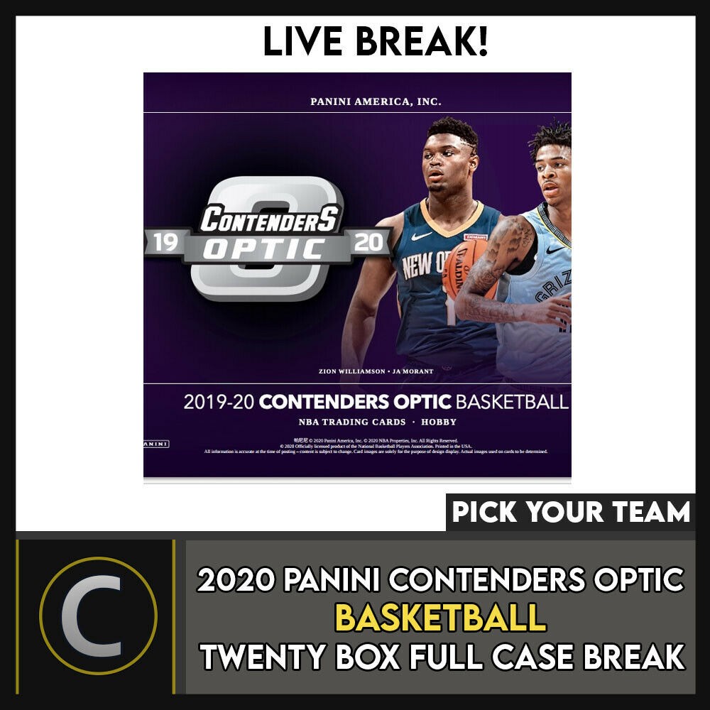 2019-20 PANINI CONTENDERS OPTIC 20 BOX (FULL CASE) BREAK #B499 - PICK YOUR TEAM