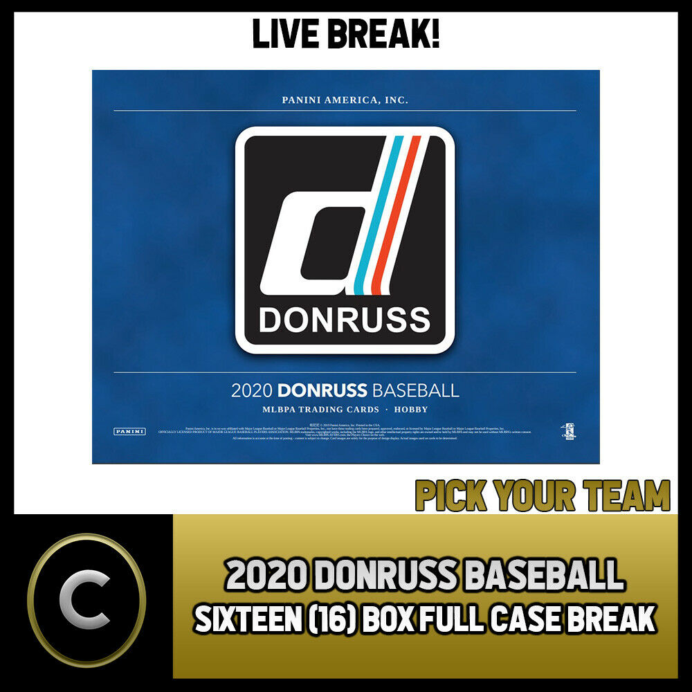 2020 DONRUSS BASEBALL 16 BOX (FULL CASE) BREAK #A730 - PICK YOUR TEAM