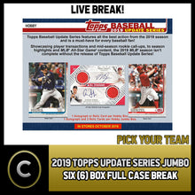 Load image into Gallery viewer, 2019 TOPPS UPDATE SERIES JUMBO 6 BOX FULL CASE BREAK #A586 - PICK YOUR TEAM